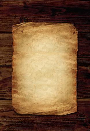 Photo pour Old paper on wooden background with copyspace - image libre de droit