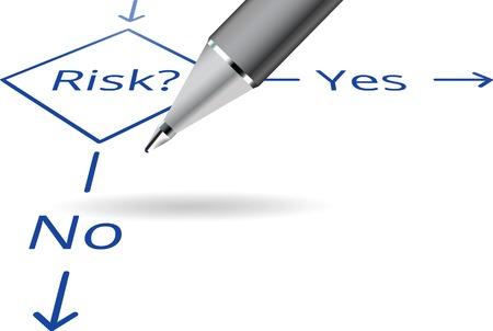 Illustration pour Risk Yes No flowchart concept with ball pen - image libre de droit