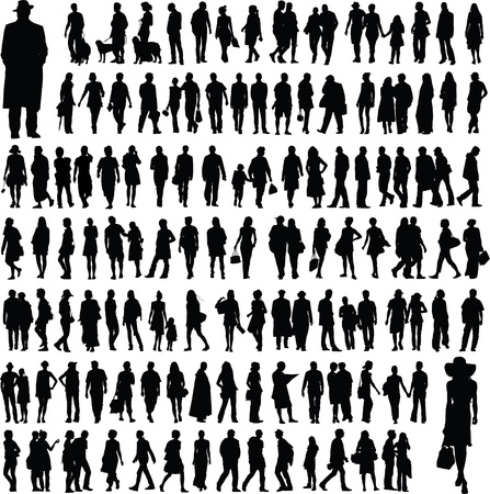 Photo pour collection of people silhouettes - image libre de droit