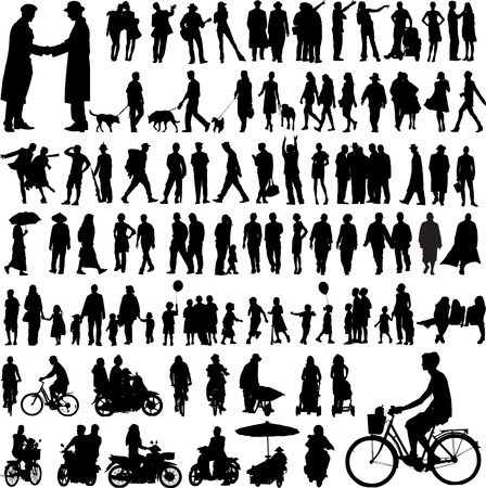 Illustration for collection of people silhouettes - Royalty Free Image