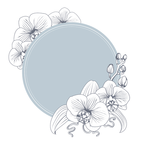 Ilustración de Orchid phalaenopsis flower branch bouquet contour outline. Black and white line art illustration. Blue teal circle ring floral decorated wreath. Vector design illustration. - Imagen libre de derechos
