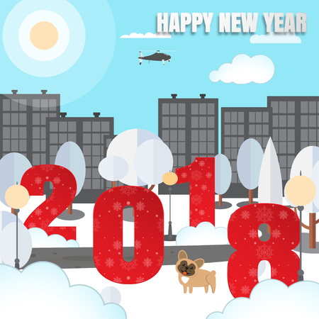 Illustration pour Happy New Year vector urban poster with city park, numbers with pattern, trees, yellow dog, fanned pillars, buildings, clouds, helicopter, sun cut from paper. - image libre de droit