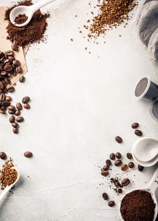 Photo for Background with assorted coffee, coffee beans, ground and instant, pads and capsules, retro style toned, copy space, top view. - Royalty Free Image