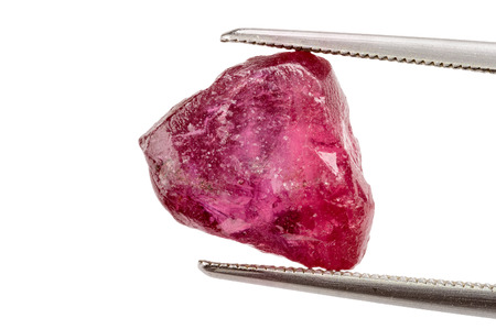 Photo for One red ruby crystal held by tweezers - Royalty Free Image