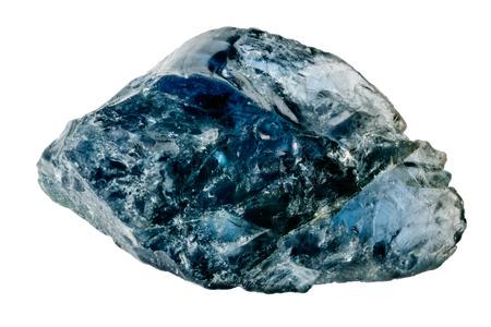 Foto de One raw and uncut blue sapphire crystal isolated on white - Imagen libre de derechos