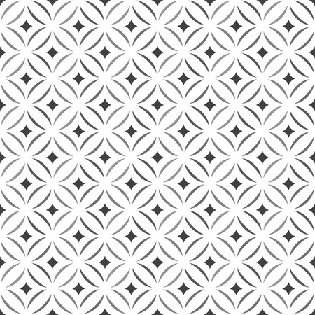 Illustration pour Seamless pattern. Stylish texture. Tile with regularly repeating geometrical elements, shapes, rhombuses, arches, crossed circles. Monochrome. Backdrop. Web. Vector element of graphic design - image libre de droit