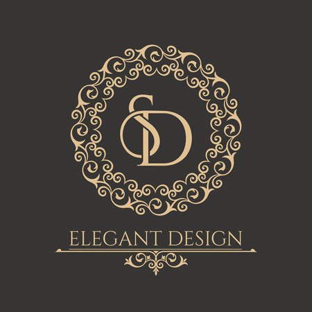 Illustration for Monogram from intertwining letters SD in elegant flower frame. Baroque style. Place for the text. Golden template for cafe, bars, boutiques, invitations. Logo for business. Vintage vector elements of design. - Royalty Free Image
