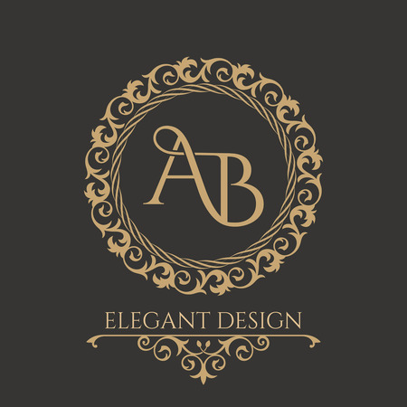 Illustration for Monogram from intertwining letters AB in elegant flower frame. Baroque style. Place for text. Golden template for cafe, bars, boutiques, invitations. Logo for business. Vintage elements of design. Vector - Royalty Free Image