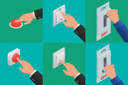 Illustration pour Set of realistic vector hands pressing buttons - image libre de droit
