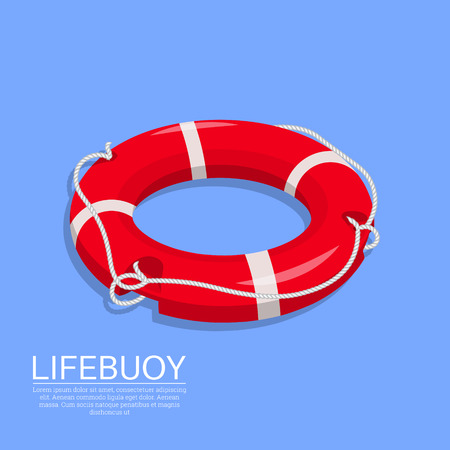 Ilustración de Lifebuoy on the isolated background. A subject for the help on water, rescue of drowning. Sea stock. An element for design.3D. Isometry. A vector illustration in flat style. - Imagen libre de derechos