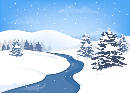 Christmas winter landscape with blue sky and falling snow. Nature in holiday season with snowlake. Flying clouds and snowfall. Illustration in flat vector style