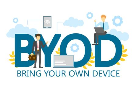 Illustration pour BYOD bring your own device single word banner vector isolated. Gadget, wireless technology. Business strategy, mobility at work. Access to personal computer and smartphone. - image libre de droit