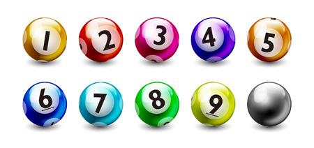 Illustrazione per Lottery Colorful Number 1 to 9 Balls Set - Immagini Royalty Free