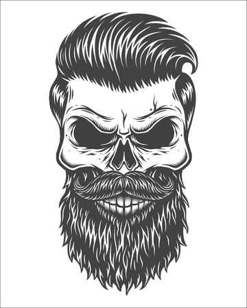 Illustration pour Monochrome illustration of skull with beard, mustache, hipster haircut. Isolated on white background - image libre de droit