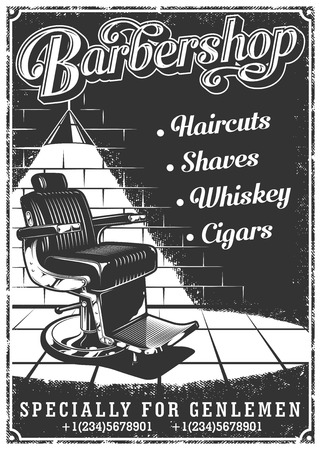 Illustration pour Vintage barbershop poster with barber chair, text, and grunge texture - image libre de droit