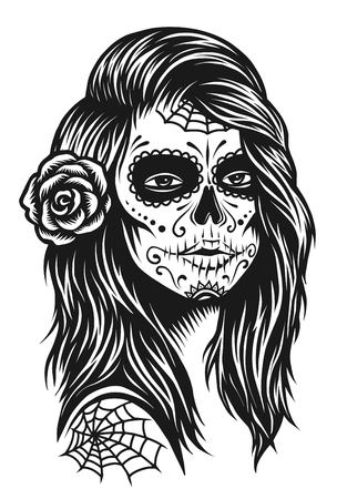 Ilustración de Illustration of black and white skull girl with rose in hairs on white background - Imagen libre de derechos
