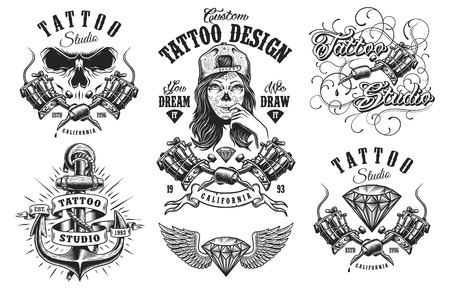 Ilustración de Set of vintage black and white tattoo emblems, badges, labels and logos. isolated on white background. layered - Imagen libre de derechos