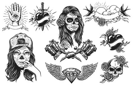 Photo pour Set of vintage black and white tattoo compositions isolated on white background - image libre de droit