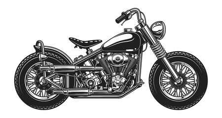 Illustration for Monochrome illustration of classic motorcycle isolated on white background - Royalty Free Image