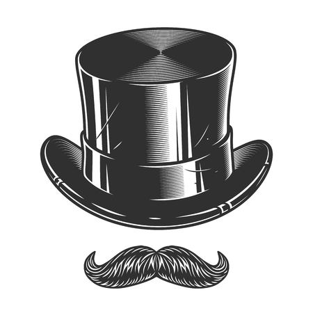 Photo for Monochrome illustration of top hat and moustache isolated on white background - Royalty Free Image
