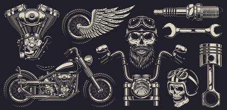 Illustration for Set of vintage custom motorcycle emblems. - Royalty Free Image