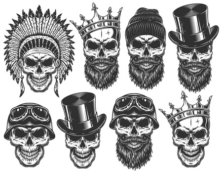 Illustration pour Set of different skull characters with different hats and accessories. Monochrome style. Isolated on white background. - image libre de droit