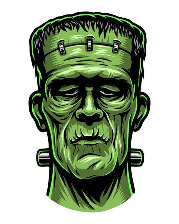 Illustration pour Color illustration of Frankenstein head. - image libre de droit