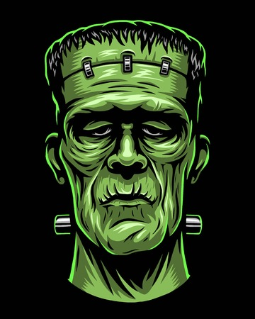 Illustration pour Color illustration of Frankenstein head. - image libre de droit