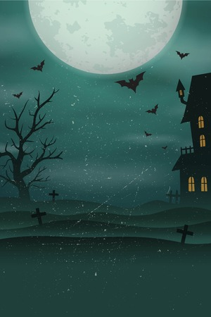 Illustration pour Halloween poster background. Foggy landscape of graveyard with old scary house, tree, bats, big moon. - image libre de droit