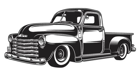 Ilustración de Monochrome illustration of classic retro style truck. Isolated on white. - Imagen libre de derechos