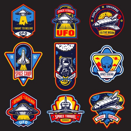 Illustration for Set of vintage space and astronaut badges, emblems, logos and labels. Monochrome style. Vector illustration - Royalty Free Image