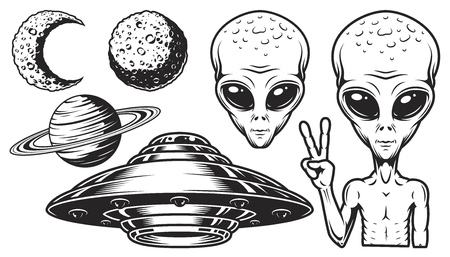 Illustration pour Aliens and ufo set of vector objects and design elements in monochrome style isolated on white background - image libre de droit