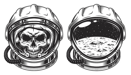 Illustrazione per Skull in space helmet with star. Poster, emblem concept - Immagini Royalty Free