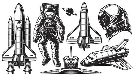 Illustration pour Set of vector monochrome of space. Elements of design on a white background. Vector illustration. - image libre de droit