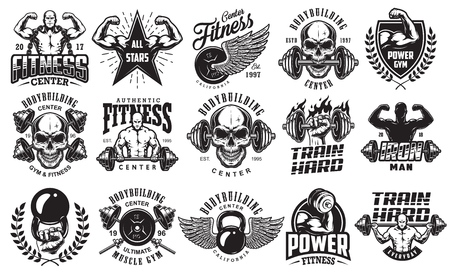 Illustration for Set of bodybuilding emblems with skull and barbell - Royalty Free Image