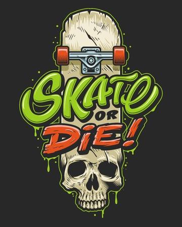 Ilustración de Skateborading tees print - Imagen libre de derechos