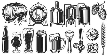 Illustration for Beer object set - Royalty Free Image