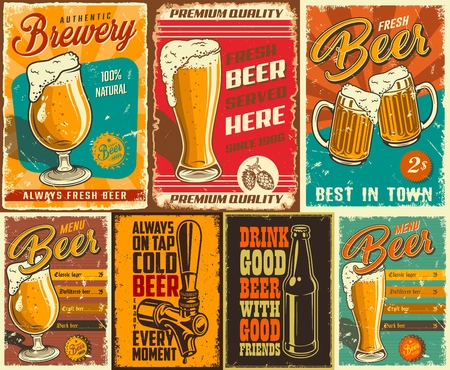 Ilustración de Set of beer poster in vintage style with grunge textures and beer objects. Vector illustration. - Imagen libre de derechos