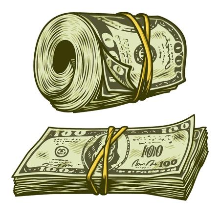 Illustration pour Money bundle isolated - image libre de droit