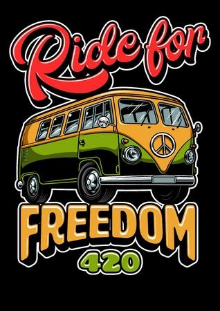 Illustration pour Poster with hippie vitage bus vintage style. Vector illustration - image libre de droit