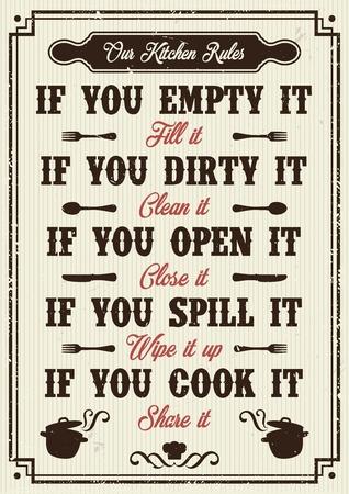 Illustration pour Kitchen rules poster Vector illustration. - image libre de droit