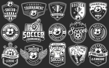 Illustration for Set of soccer emblems in monochrome style. Vector illustration - Royalty Free Image