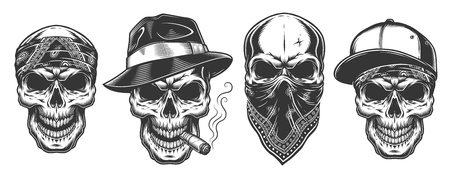 Illustration pour Skulls in monochrome vintage style, gangsters and mafia set. Vector illustration. - image libre de droit