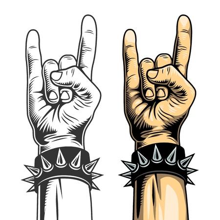 Ilustración de Rock signs, hand collection in two colours. Vector illustration. - Imagen libre de derechos