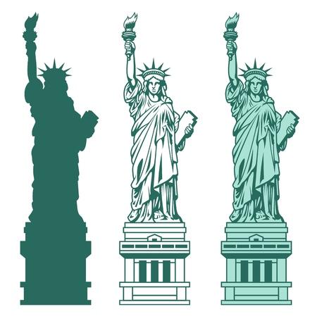 Ilustración de Set of the Statue of Liberty in New York City. - Imagen libre de derechos