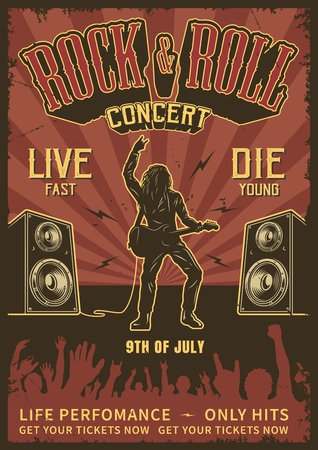Illustrazione per Rock and roll poster - Immagini Royalty Free