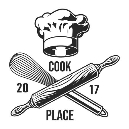 Ilustración de Vintage kitchen utensils emblem - Imagen libre de derechos