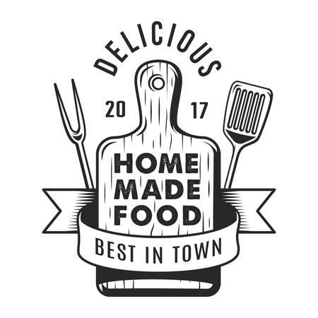 Ilustración de Vintage kitchen utensil monochrome emblem - Imagen libre de derechos