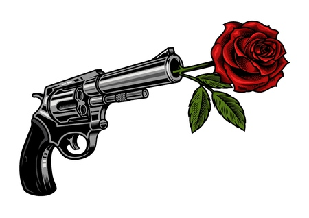 Illustration for Gun with rose illustration isolated on white - Royalty Free Image