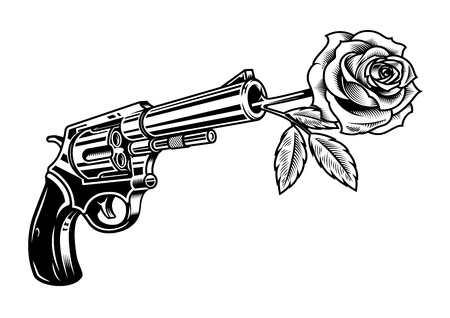 Illustration for Revolver with rose illustration isolated on white - Royalty Free Image